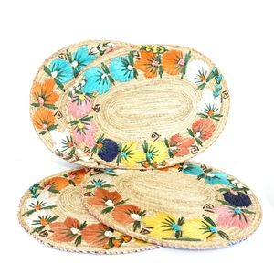 Floral wicker woven placemats - set of 4